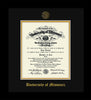 Image of University of Missouri Diploma Frame - Flat Matte Black - w/Embossed UMO Seal & Name - Black on Gold mat
