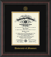 Image of University of Missouri Diploma Frame - Mahogany Braid - w/Embossed UMO Seal & Name - Black on Gold mat