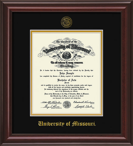 Image of University of Missouri Diploma Frame - Mahogany Lacquer - w/Embossed UMO Seal & Name - Black on Gold mat