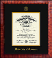 Image of University of Missouri Diploma Frame - Mezzo Gloss - w/Embossed UMO Seal & Name - Black on Gold mat