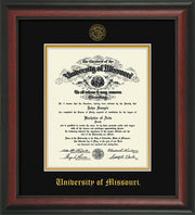 Image of University of Missouri Diploma Frame - Rosewood - w/Embossed UMO Seal & Name - Black on Gold mat