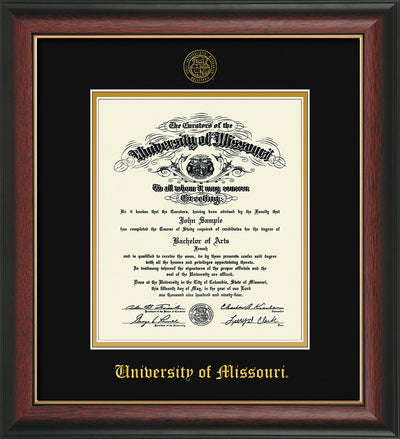 Image of University of Missouri Diploma Frame - Rosewood w/Gold Lip - w/Embossed UMO Seal & Name - Black on Gold mat