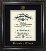Image of University of Missouri Diploma Frame - Vintage Black Scoop - w/Embossed UMO Seal & Name - Black on Gold mat