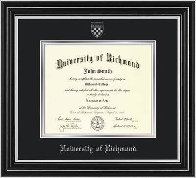 Image of University of Richmond Diploma Frame - Satin Silver - w/Silver Embossed Seal & Name - Black on Silver mats