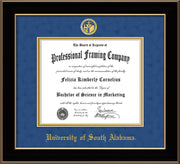 Image of University of South Alabama Diploma Frame - Black Lacquer - w/USA Embossed Seal & Name - Royal Blue Suede on Gold mats