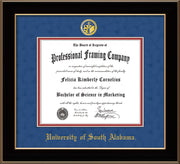 Image of University of South Alabama Diploma Frame - Black Lacquer - w/USA Embossed Seal & Name - Royal Blue Suede on Crimson mats