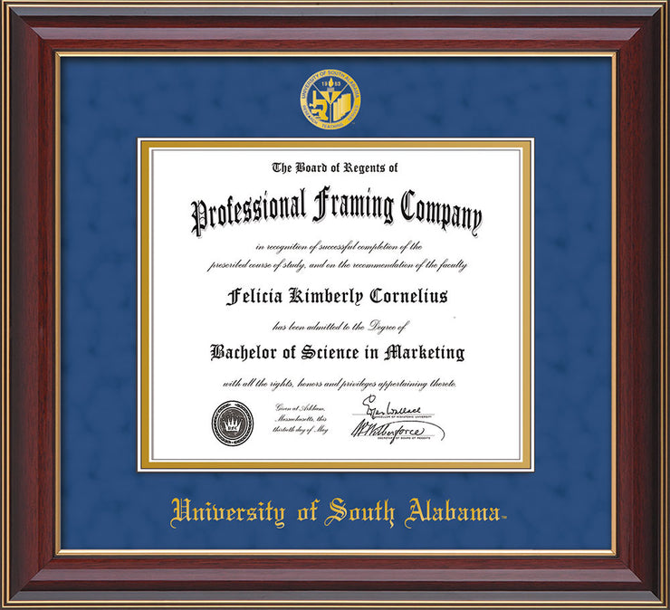 Image of University of South Alabama Diploma Frame - Cherry Lacquer - w/USA Embossed Seal & Name - Royal Blue Suede on Gold mats