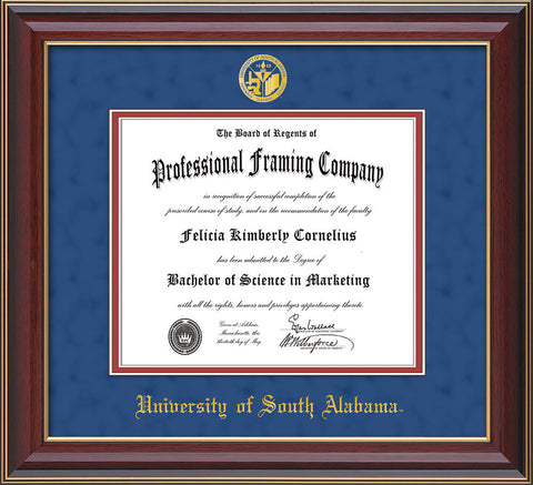 Image of University of South Alabama Diploma Frame - Cherry Lacquer - w/USA Embossed Seal & Name - Royal Blue Suede on Crimson mats