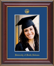 Image of University of South Alabama - 5 x 7 Photo Frame - Cherry Lacquer - w/Official Embossing of USA Seal & Name - Single Royal Blue mat