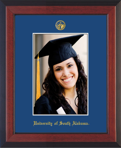Image of University of South Alabama - 5 x 7 Photo Frame - Cherry Reverse - w/Official Embossing of USA Seal & Name - Single Royal Blue mat