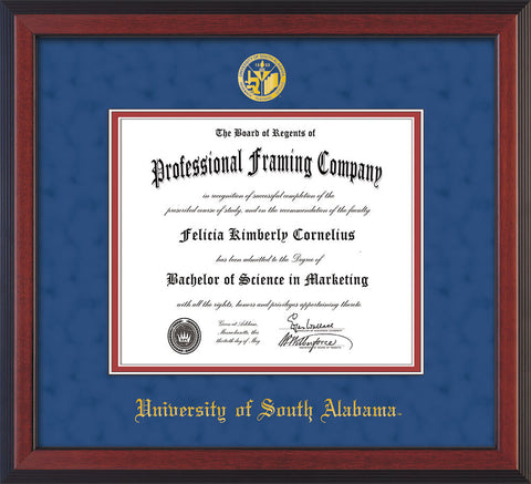 Image of University of South Alabama Diploma Frame - Cherry Reverse - w/USA Embossed Seal & Name - Royal Blue Suede on Crimson mats