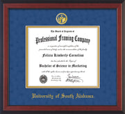 Image of University of South Alabama Diploma Frame - Cherry Reverse - w/USA Embossed Seal & Name - Royal Blue Suede on Gold mats