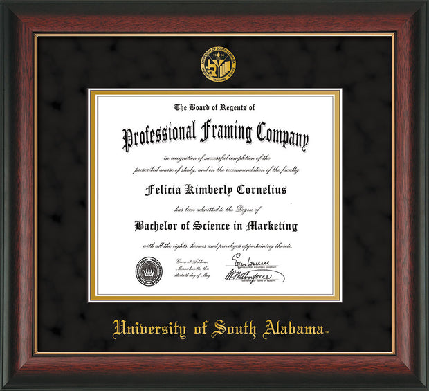 Image of University of South Alabama Diploma Frame - Rosewood w/Gold Lip - w/USA Embossed Seal & Name - Black Suede on Gold mats