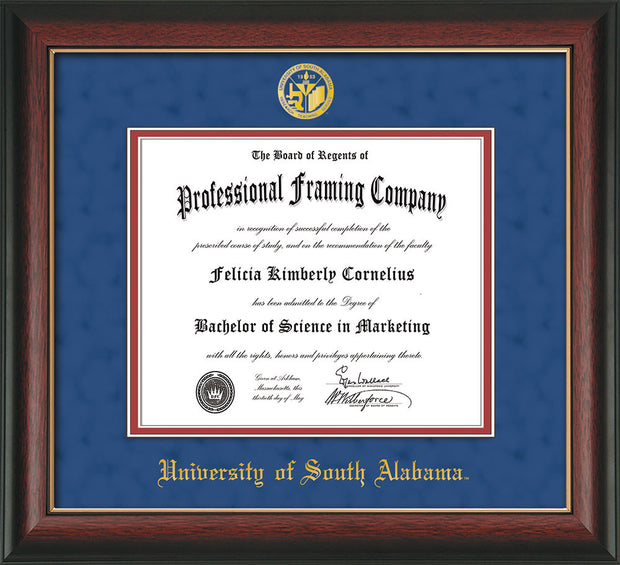 Image of University of South Alabama Diploma Frame - Rosewood w/Gold Lip - w/USA Embossed Seal & Name - Royal Blue Suede on Crimson mats