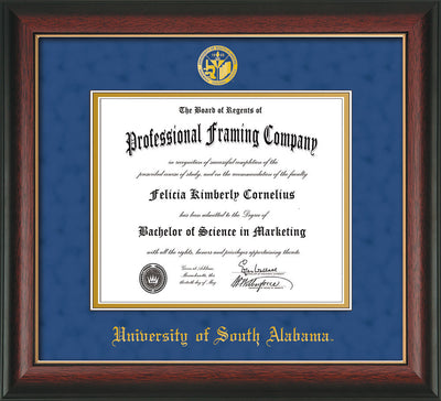 Image of University of South Alabama Diploma Frame - Rosewood w/Gold Lip - w/USA Embossed Seal & Name - Royal Blue Suede on Gold mats