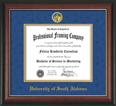 U of South Alabama Diploma Frame-Rose Gold-w/USA Seal-Blue Suede ...