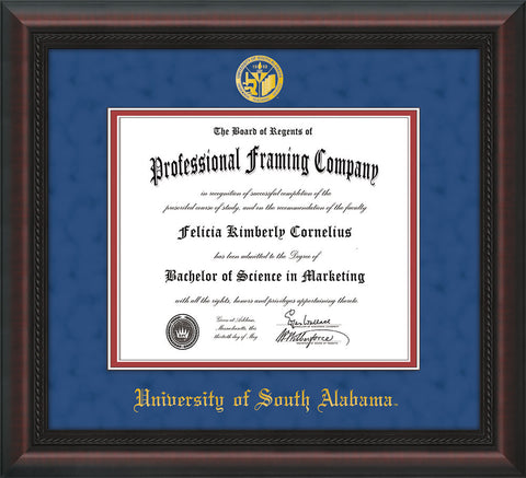 Image of University of South Alabama Diploma Frame - Mahogany Braid - w/USA Embossed Seal & Name - Royal Blue Suede on Crimson mats