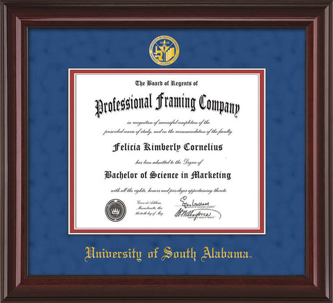 Image of University of South Alabama Diploma Frame - Mahogany Lacquer - w/USA Embossed Seal & Name - Royal Blue Suede on Crimson mats