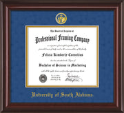 Image of University of South Alabama Diploma Frame - Mahogany Lacquer - w/USA Embossed Seal & Name - Royal Blue Suede on Gold mats