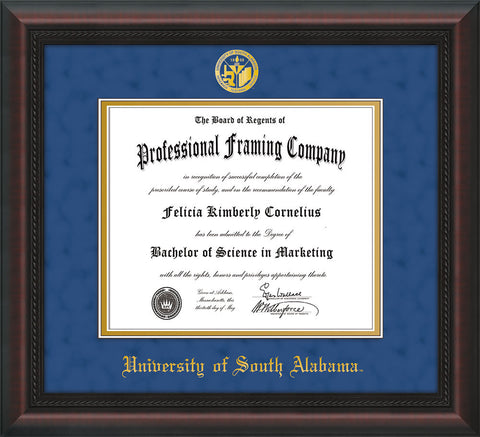 Image of University of South Alabama Diploma Frame - Mahogany Braid - w/USA Embossed Seal & Name - Royal Blue Suede on Gold mats