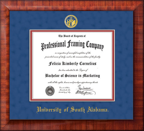Image of University of South Alabama Diploma Frame - Mezzo Gloss - w/USA Embossed Seal & Name - Royal Blue Suede on Crimson mats