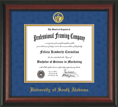 Image of University of South Alabama Diploma Frame - Rosewood - w/USA Embossed Seal & Name - Royal Blue Suede on Gold mats