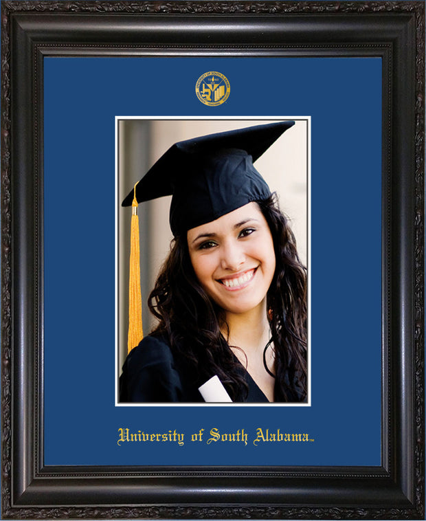 Image of University of South Alabama - 5 x 7 Photo Frame - Vintage Black Scoop - w/Official Embossing of USA Seal & Name - Single Royal Blue mat