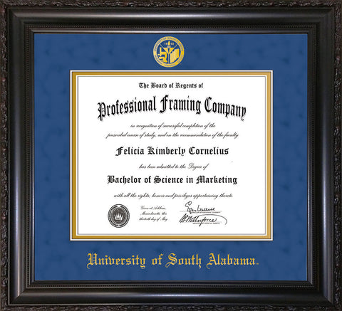 Image of University of South Alabama Diploma Frame - Vintage Black Scoop - w/USA Embossed Seal & Name - Royal Blue Suede on Gold mats