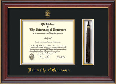 Image of University of Tennessee Diploma Frame - Cherry Lacquer - w/Embossed UTK Seal & Name - Tassel Holder - Black on Gold Mat
