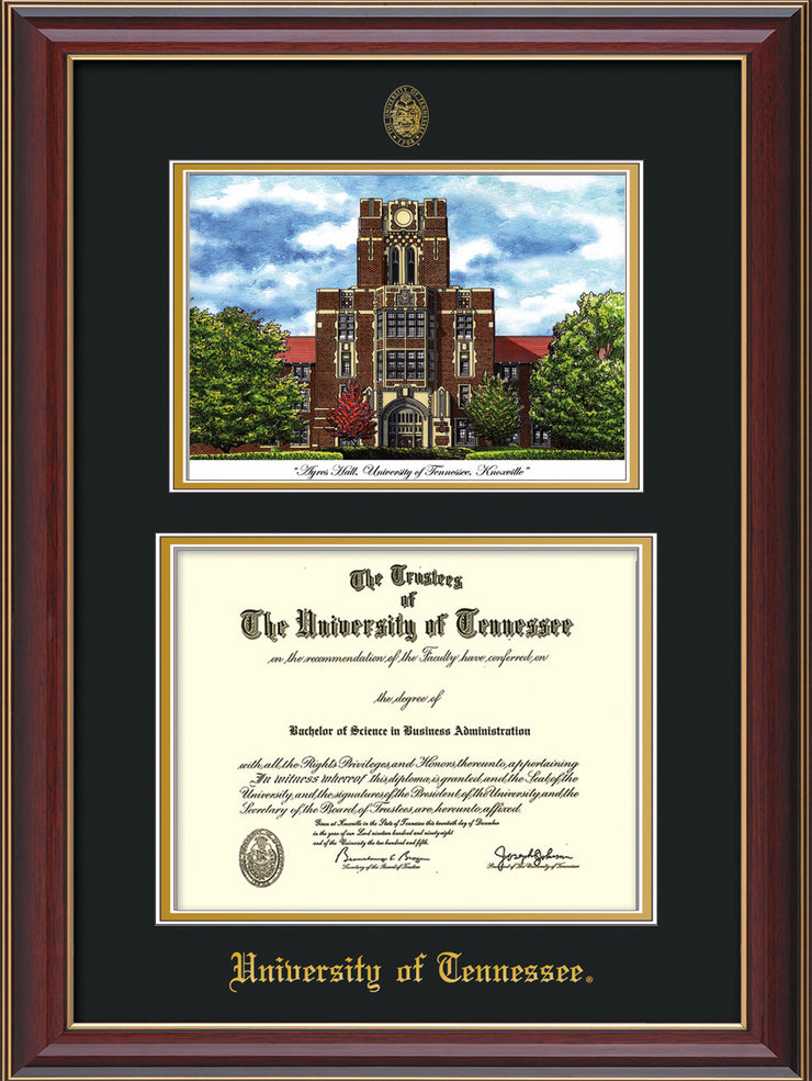 Image of University of Tennessee Diploma Frame - Cherry Lacquer - w/Embossed UTK Seal & Name - Campus Watercolor - Black on Gold mat