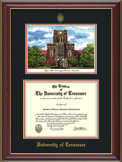 Image of University of Tennessee Diploma Frame - Cherry Lacquer - w/Embossed UTK Seal & Name - Campus Watercolor - Black on Orange mat