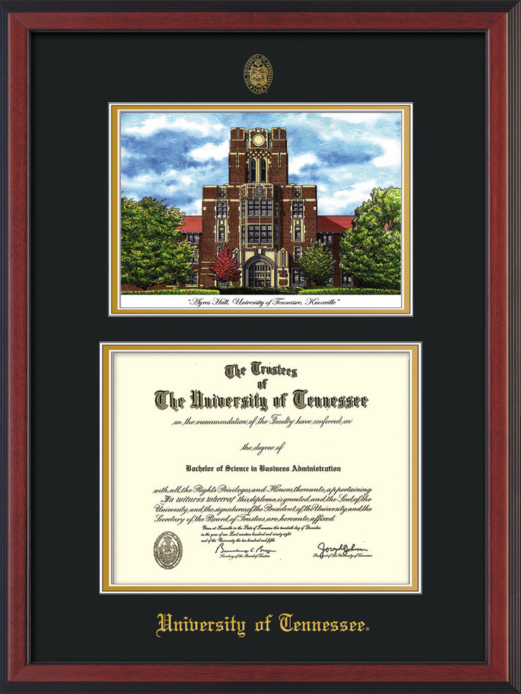 Image of University of Tennessee Diploma Frame - Cherry Reverse - w/Embossed UTK Seal & Name - Campus Watercolor - Black on Gold mat