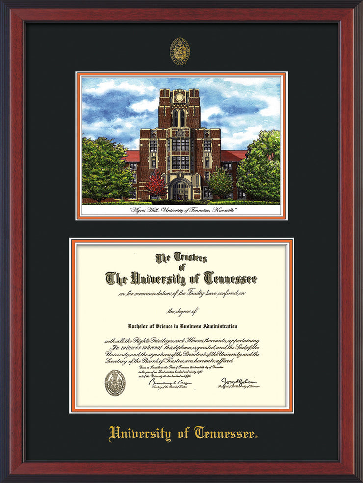 Image of University of Tennessee Diploma Frame - Cherry Reverse - w/Embossed UTK Seal & Name - Campus Watercolor - Black on Orange mat