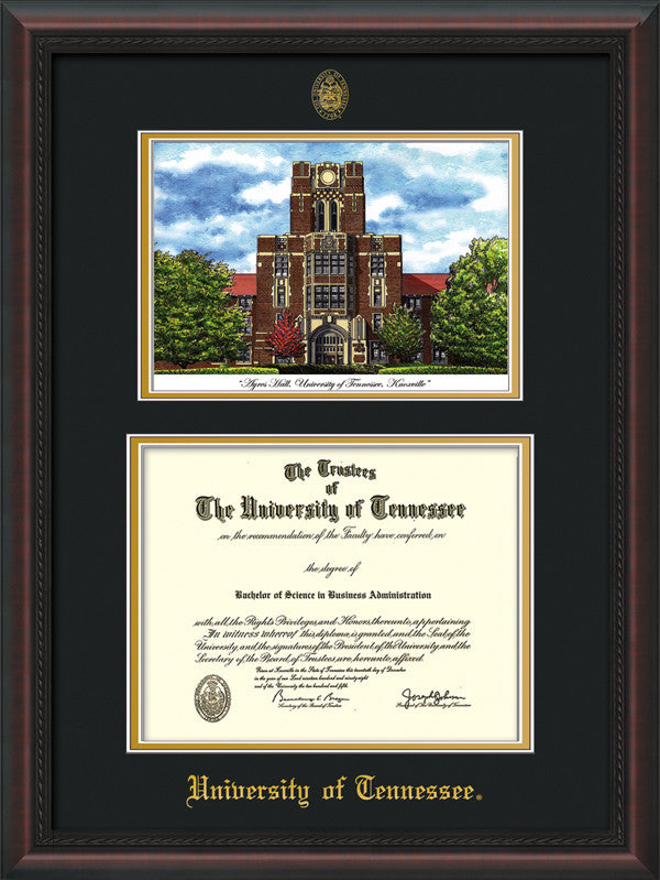 Image of University of Tennessee Diploma Frame - Mahogany Braid - w/Embossed UTK Seal & Name - Campus Watercolor - Black on Gold mat