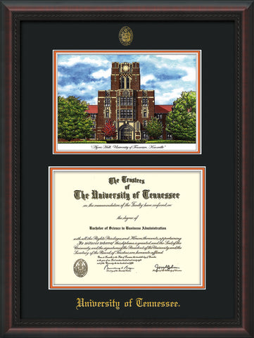 Image of University of Tennessee Diploma Frame - Mahogany Braid - w/Embossed UTK Seal & Name - Campus Watercolor - Black on Orange mat