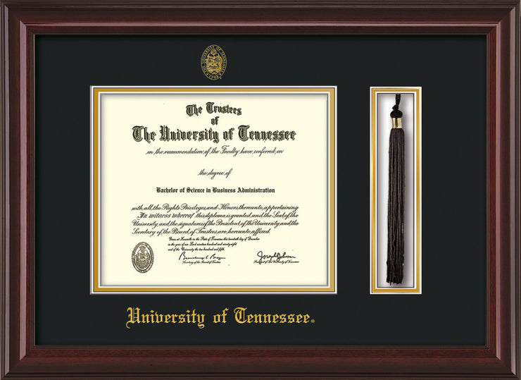 Image of University of Tennessee Diploma Frame - Mahogany Lacquer - w/Embossed UTK Seal & Name - Tassel Holder - Black on Gold Mat