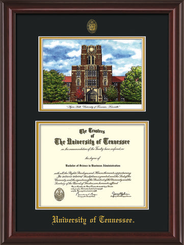 Image of University of Tennessee Diploma Frame - Mahogany Lacquer - w/Embossed UTK Seal & Name - Campus Watercolor - Black on Gold mat