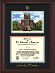 Image of University of Tennessee Diploma Frame - Mahogany Lacquer - w/Embossed UTK Seal & Name - Campus Watercolor - Black on Orange mat