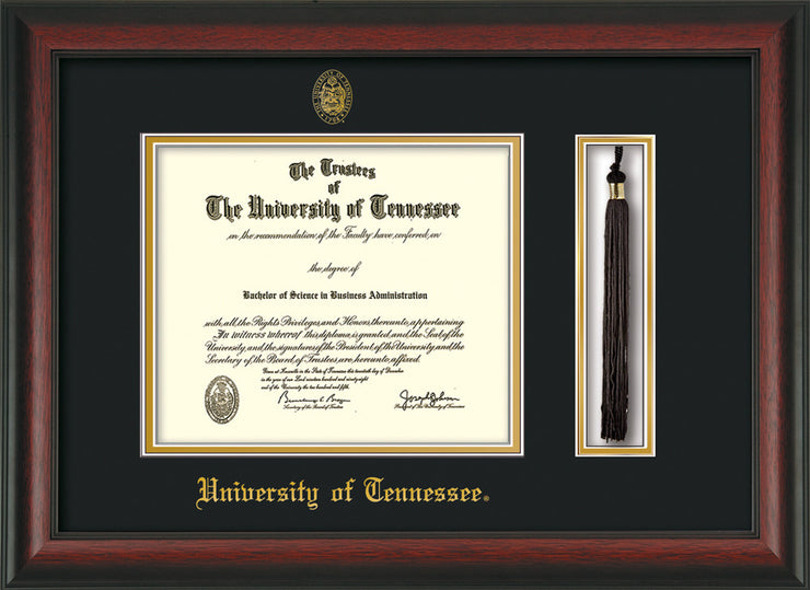 Image of University of Tennessee Diploma Frame - Rosewood - w/Embossed UTK Seal & Name - Tassel Holder - Black on Gold Mat