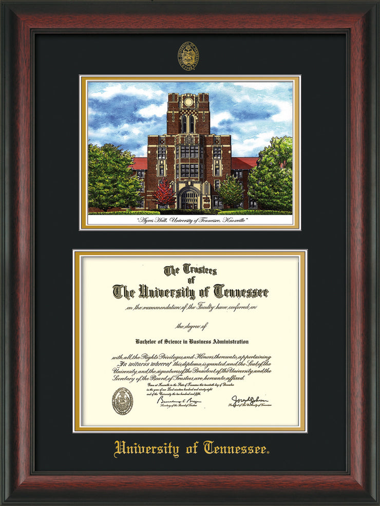 Image of University of Tennessee Diploma Frame - Rosewood - w/Embossed UTK Seal & Name - Campus Watercolor - Black on Gold mat