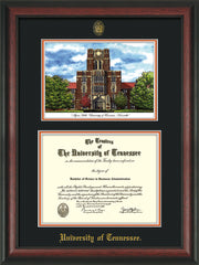 Image of University of Tennessee Diploma Frame - Rosewood - w/Embossed UTK Seal & Name - Campus Watercolor - Black on Orange mat
