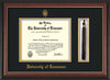 Image of University of Tennessee Diploma Frame - Rosewood w/Gold Lip - w/Embossed UTK Seal & Name - Tassel Holder - Black on Gold Mat