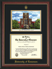 Image of University of Tennessee Diploma Frame - Rosewood w/Gold Lip - w/Embossed UTK Seal & Name - Campus Watercolor - Black on Gold mat