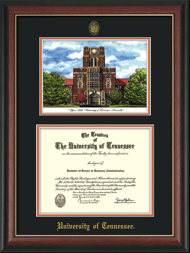 Image of University of Tennessee Diploma Frame - Rosewood w/Gold Lip - w/Embossed UTK Seal & Name - Campus Watercolor - Black on Orange mat