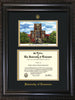 Image of University of Tennessee Diploma Frame - Vintage Black Scoop - w/Embossed UTK Seal & Name - Campus Watercolor - Black on Gold mat