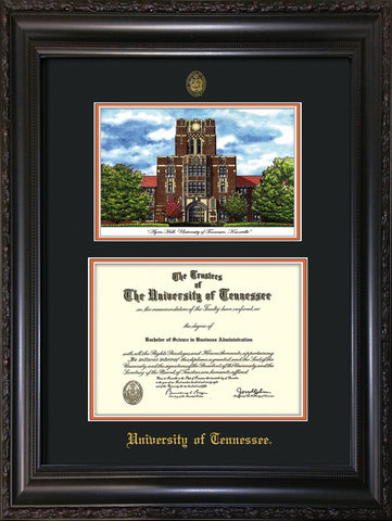 Image of University of Tennessee Diploma Frame - Vintage Black Scoop - w/Embossed UTK Seal & Name - Campus Watercolor - Black on Orange mat