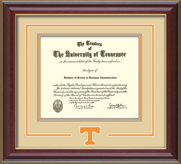 Image of University of Tennessee Diploma Frame - Cherry Lacquer - w/Laser Power T Logo Cutout - Cream on Orange mat