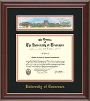 Image of University of Tennessee Diploma Frame - Cherry Lacquer - w/Embossed UTK School Name Only - Campus Collage - Black on Orange mat