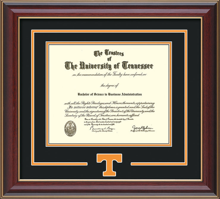 Image of University of Tennessee Diploma Frame - Cherry Lacquer - w/Laser Power T Logo Cutout - Black on Orange mat