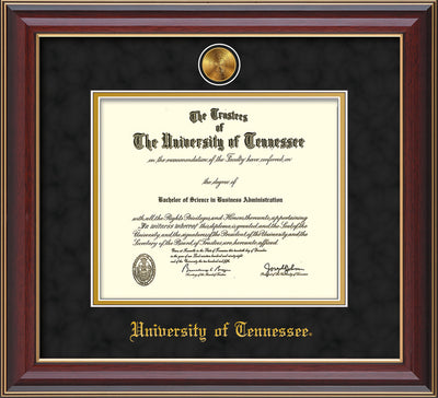 Image of University of Tennessee Diploma Frame - Cherry Lacquer - w/24k Gold Plated Medallion UTK Name Embossing - Black Suede on Gold Mat